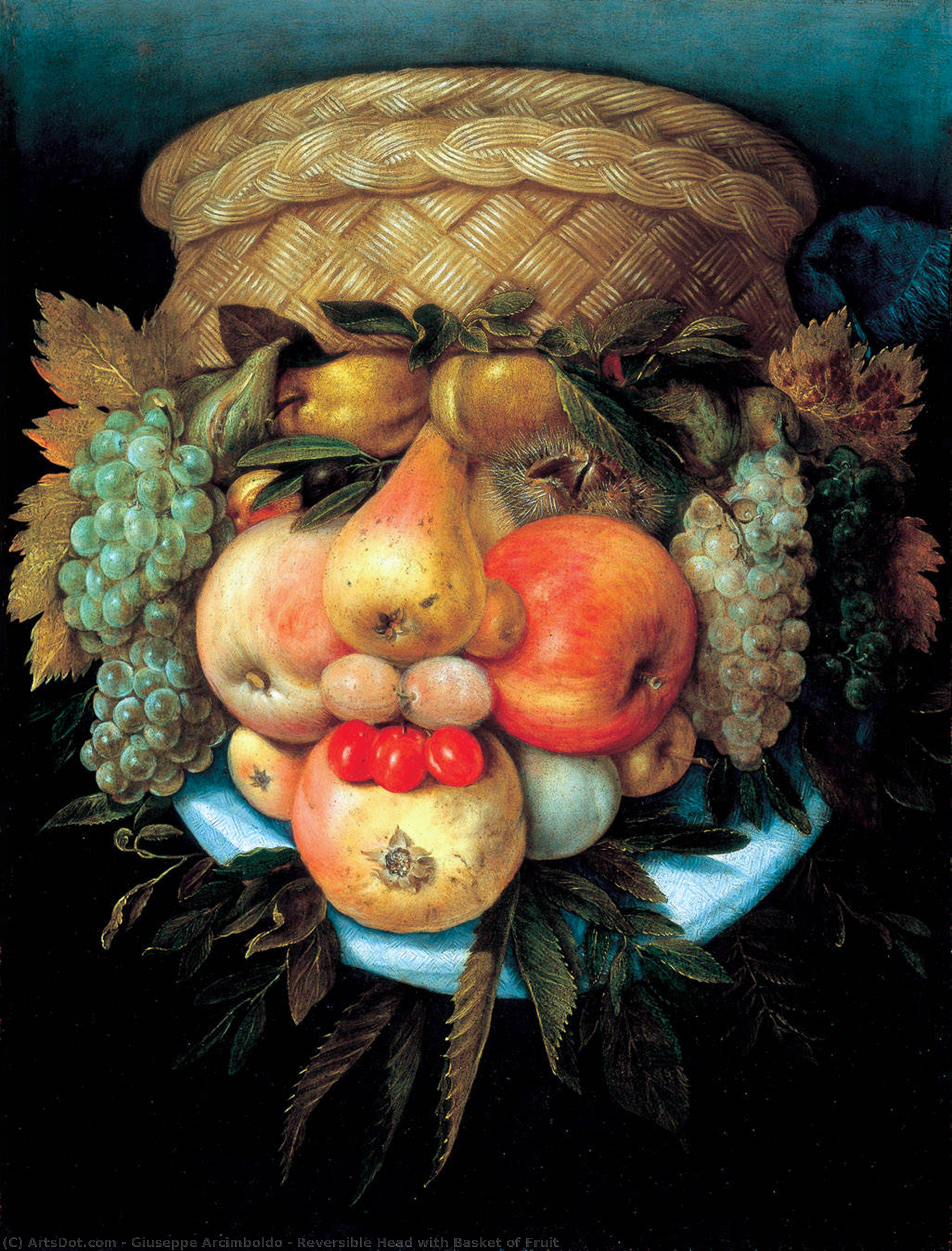 Wikioo.org - The Encyclopedia of Fine Arts - Painting, Artwork by Giuseppe Arcimboldo - Reversible Head with Basket of Fruit