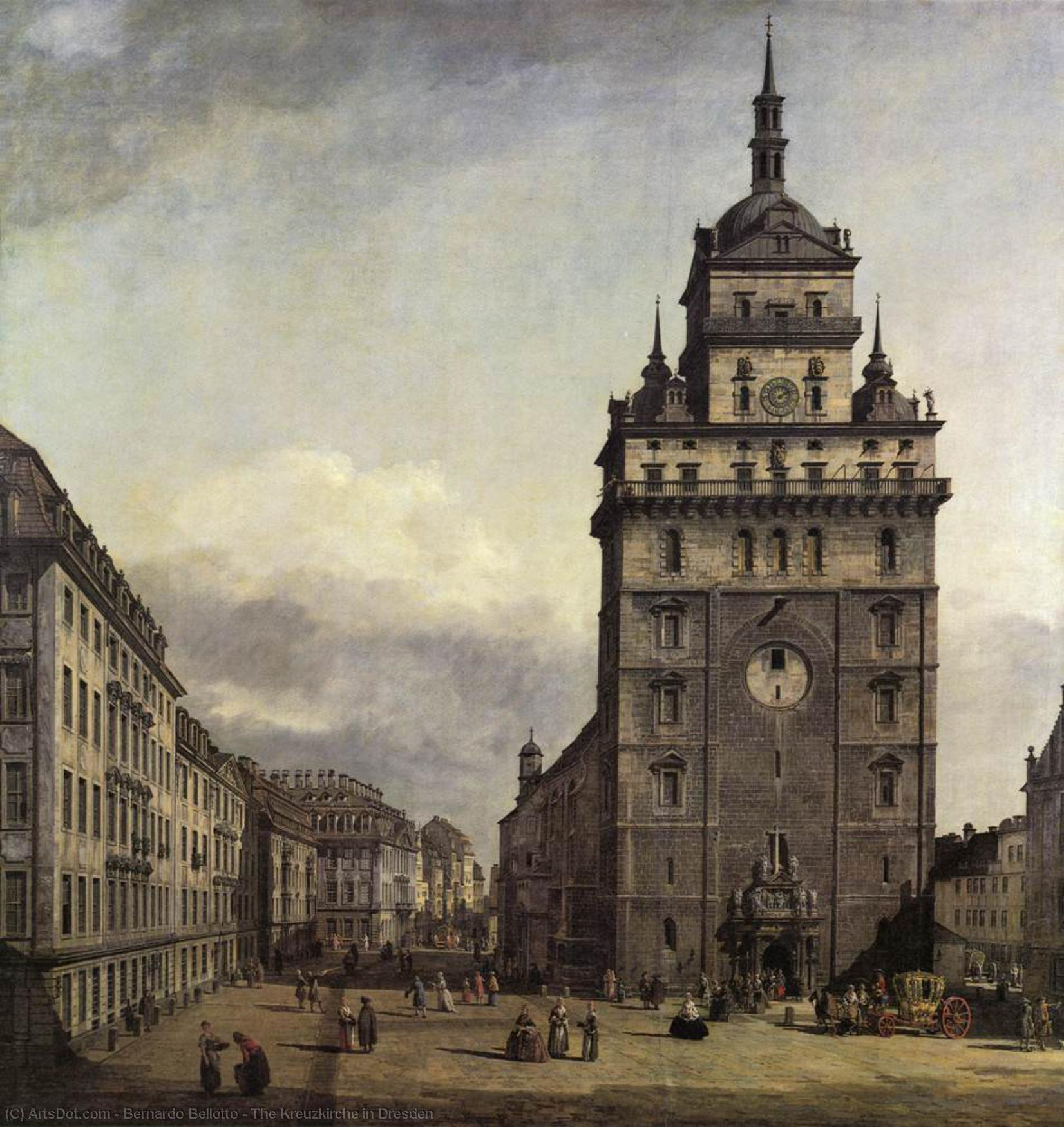 Wikioo.org - The Encyclopedia of Fine Arts - Painting, Artwork by Bernardo Bellotto - The Kreuzkirche in Dresden