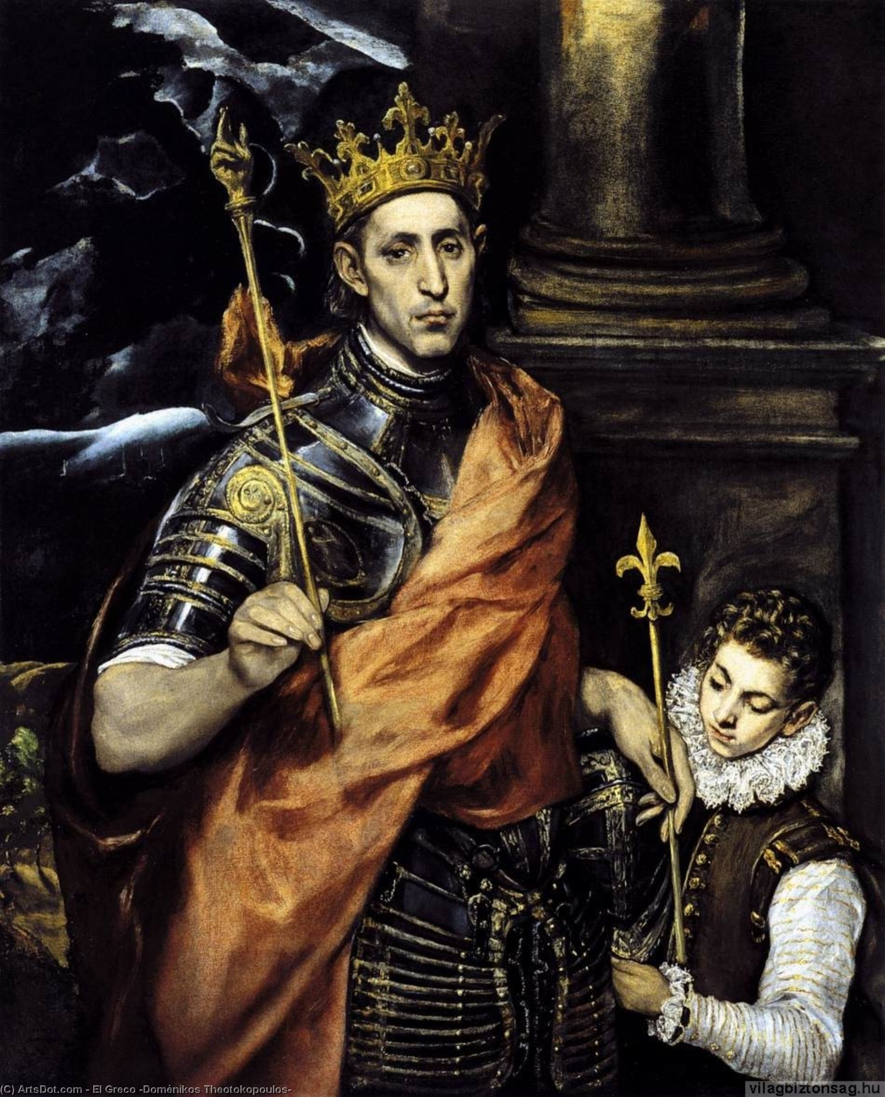 Wikioo.org - The Encyclopedia of Fine Arts - Painting, Artwork by El Greco (Doménikos Theotokopoulos) - St Louis, King of France, with a Page