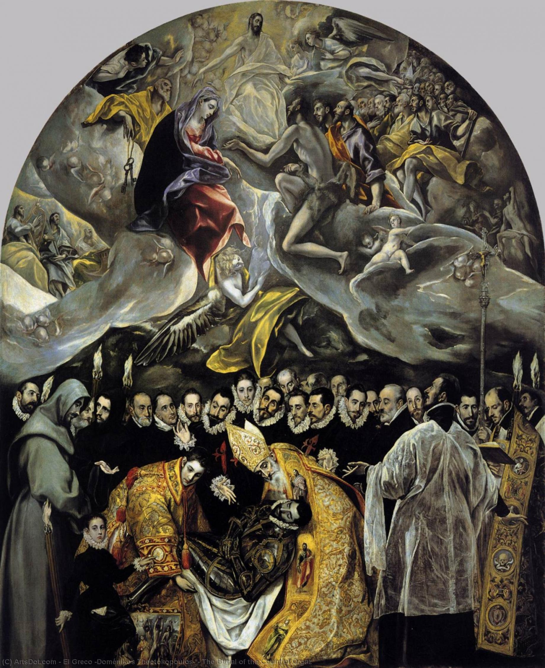 Wikioo.org - The Encyclopedia of Fine Arts - Painting, Artwork by El Greco (Doménikos Theotokopoulos) - The Burial of the Count of Orgaz