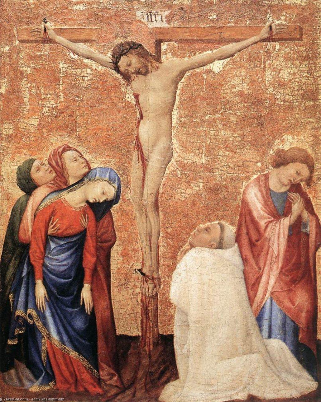WikiOO.org - Enciklopedija dailės - Tapyba, meno kuriniai Jean De Beaumetz - Christ on the Cross with a Carthusian Monk