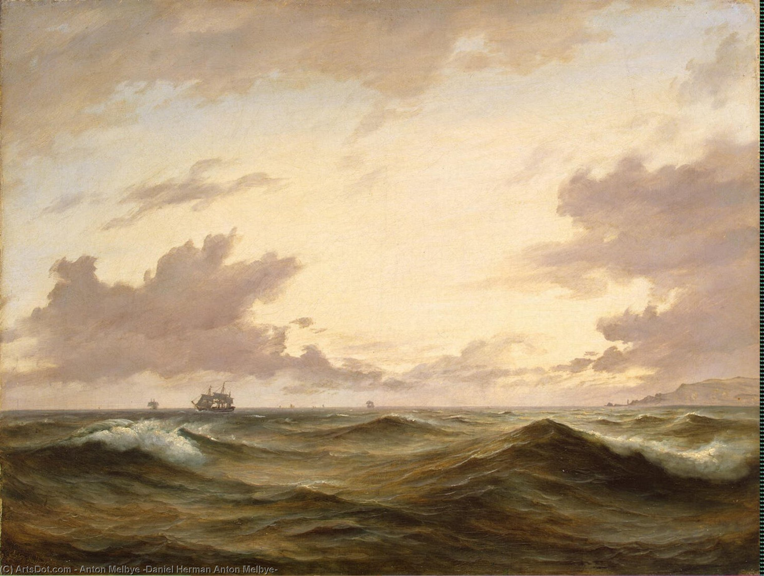 Wikioo.org - The Encyclopedia of Fine Arts - Painting, Artwork by Anton Melbye (Daniel Herman Anton Melbye) - Seascape