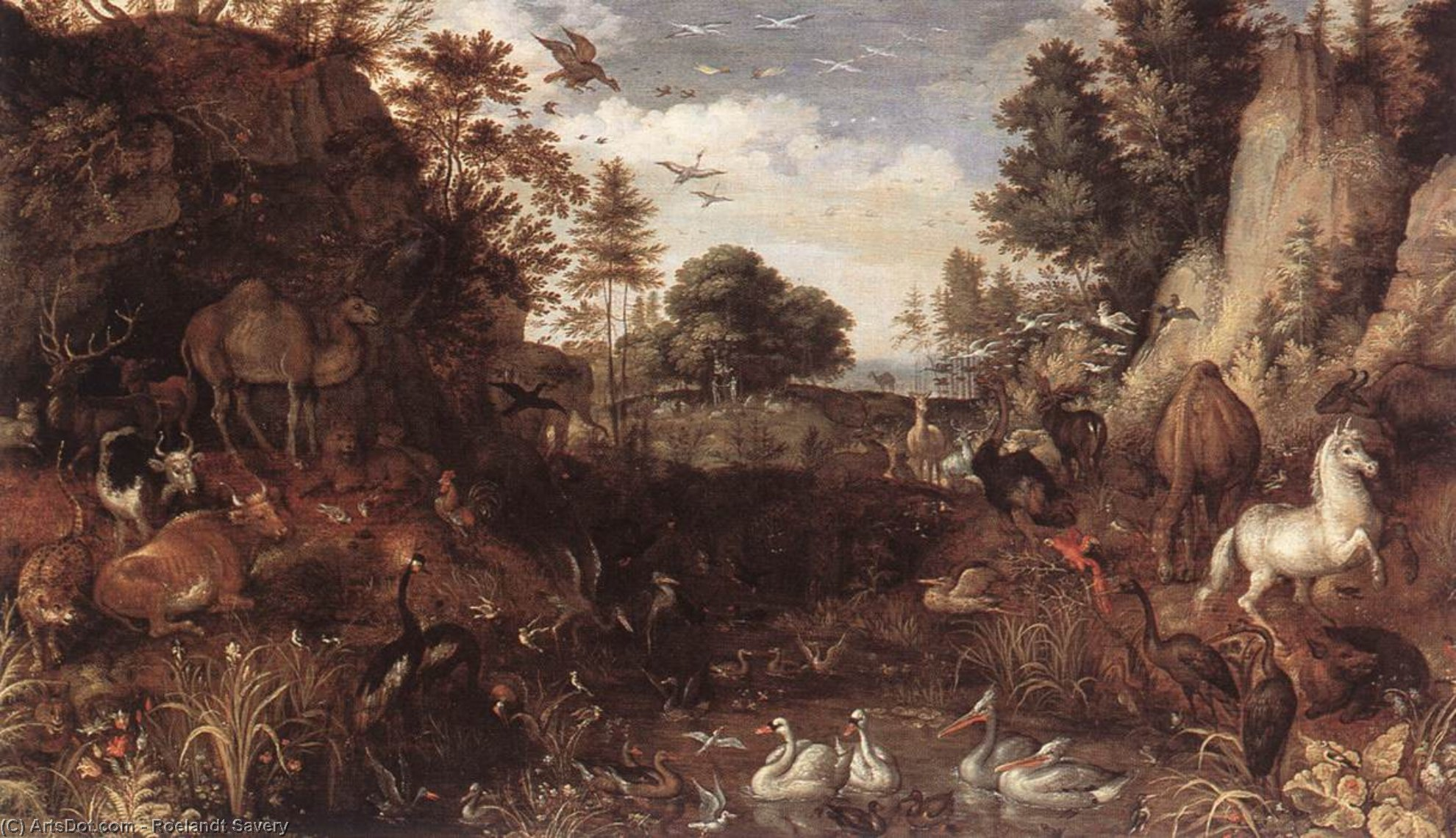 Wikioo.org - The Encyclopedia of Fine Arts - Painting, Artwork by Roelandt Savery - The Garden of Eden
