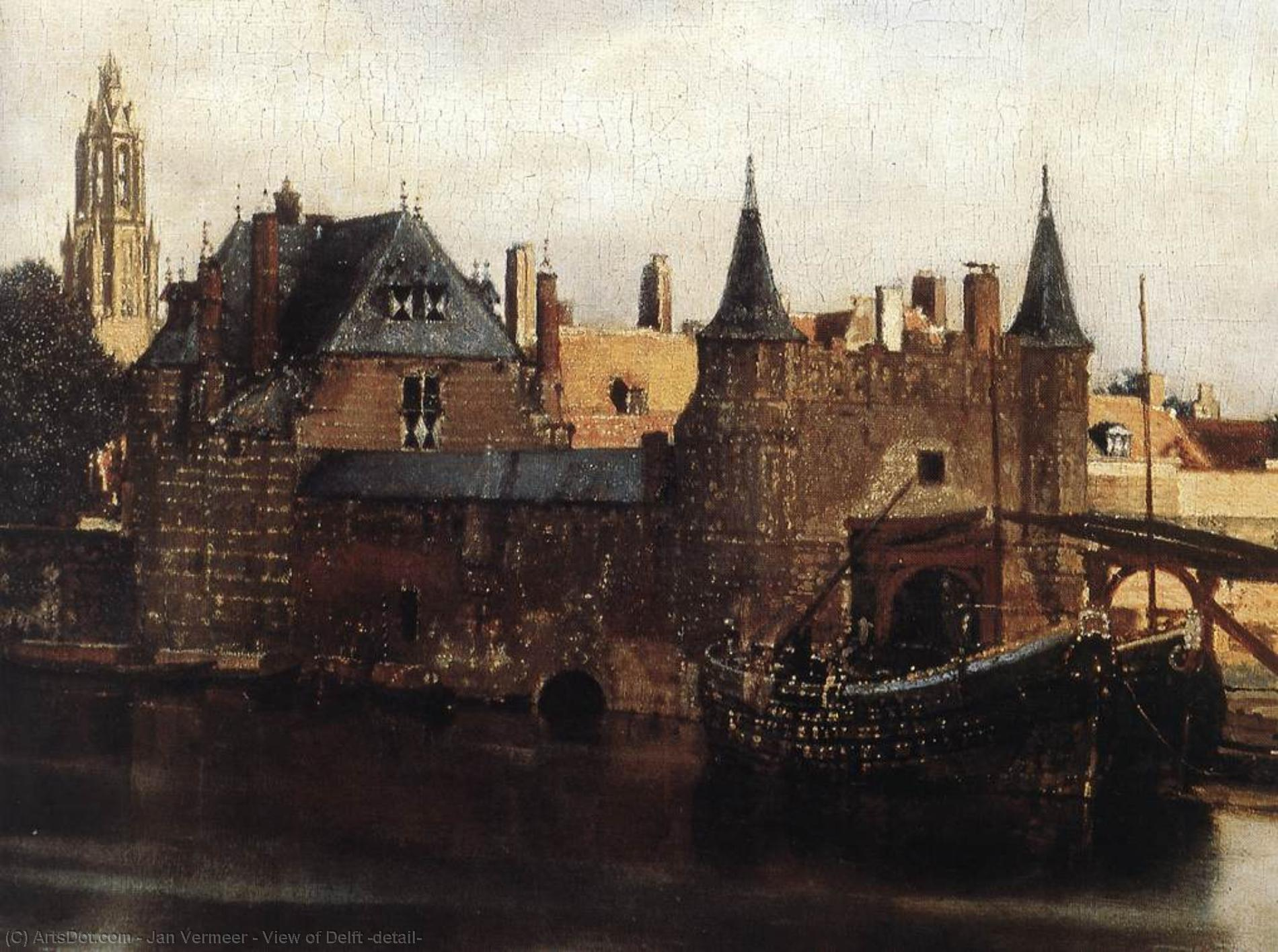 Wikioo.org - The Encyclopedia of Fine Arts - Painting, Artwork by Jan Vermeer - View of Delft (detail)