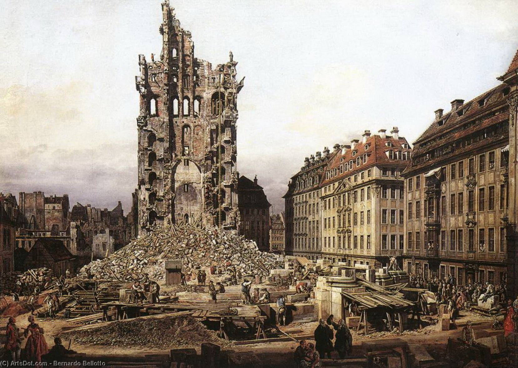 Wikioo.org - The Encyclopedia of Fine Arts - Painting, Artwork by Bernardo Bellotto - The Ruins of the Old Kreuzkirche in Dresden