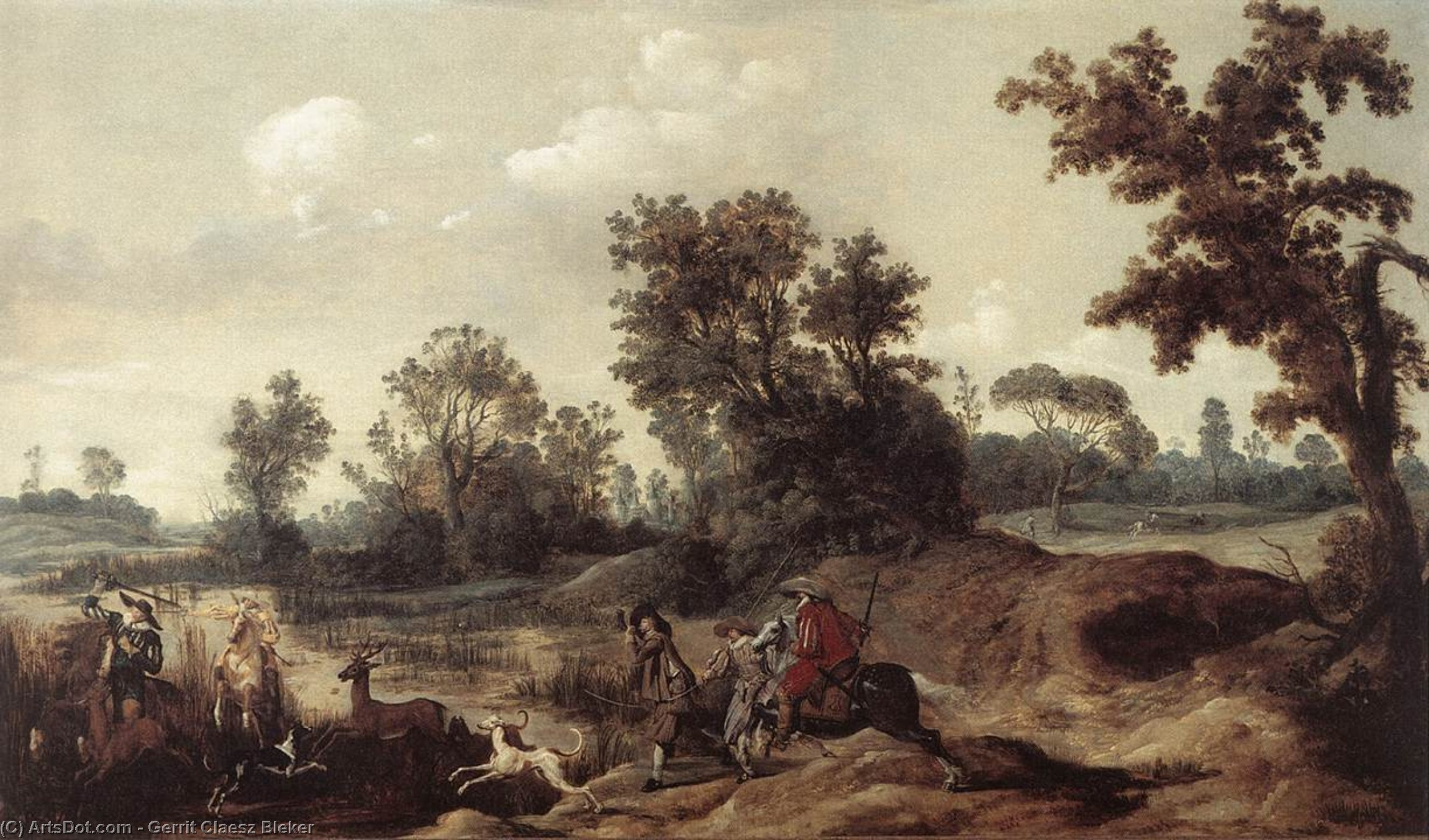 Wikioo.org - The Encyclopedia of Fine Arts - Painting, Artwork by Gerrit Claesz Bleker - Stag Hunting in the Dunes