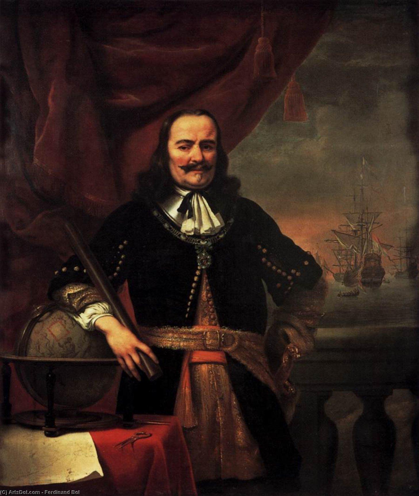 Wikioo.org - The Encyclopedia of Fine Arts - Painting, Artwork by Ferdinand Bol - Portrait of Michiel Adriaansz de Ruyter