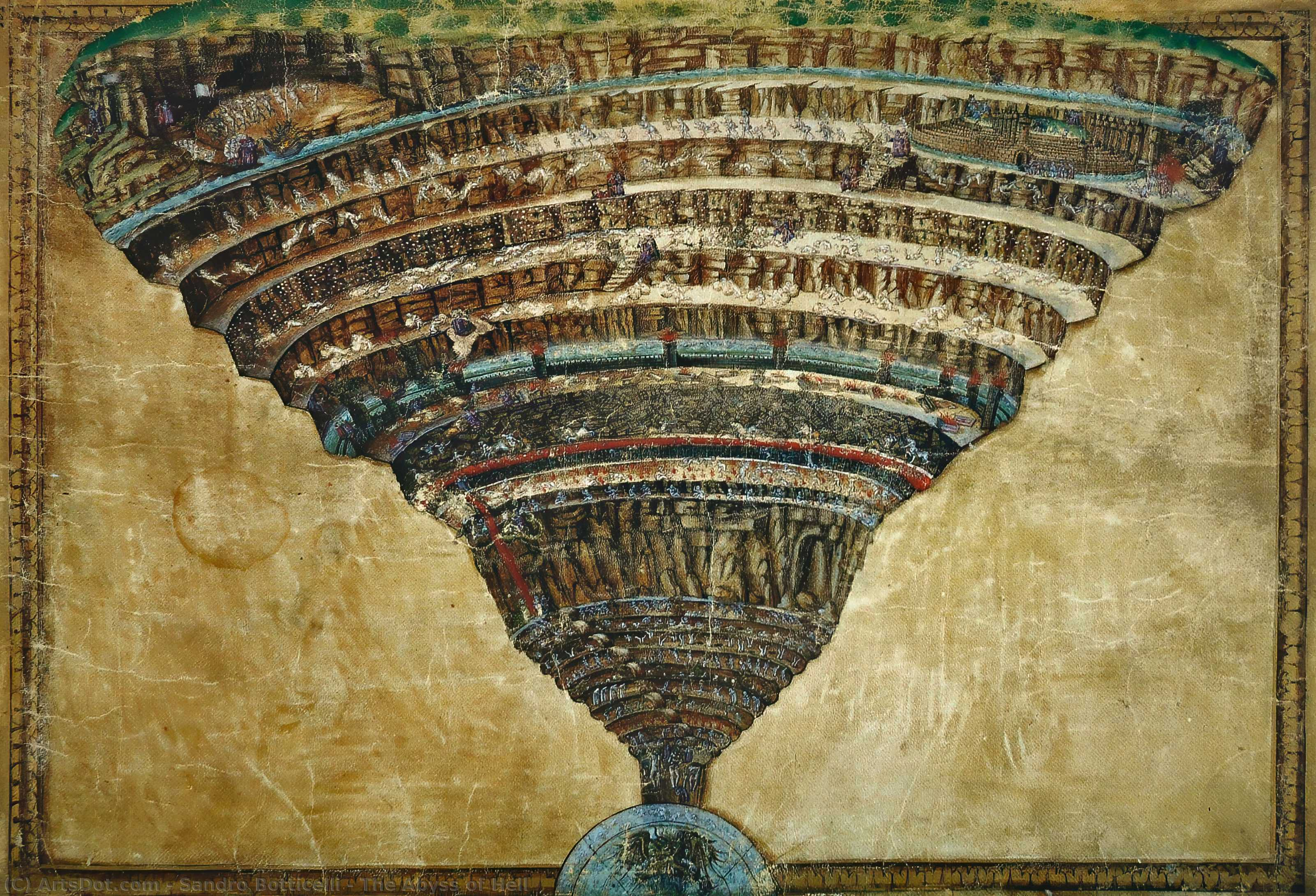 Wikioo.org - The Encyclopedia of Fine Arts - Painting, Artwork by Sandro Botticelli - The Abyss of Hell