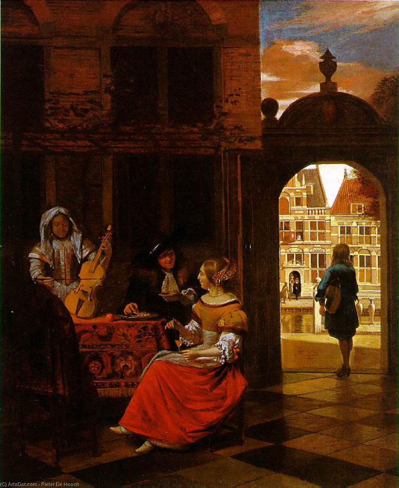 Wikioo.org - The Encyclopedia of Fine Arts - Painting, Artwork by Pieter De Hooch - Musical Party in a Courtyard