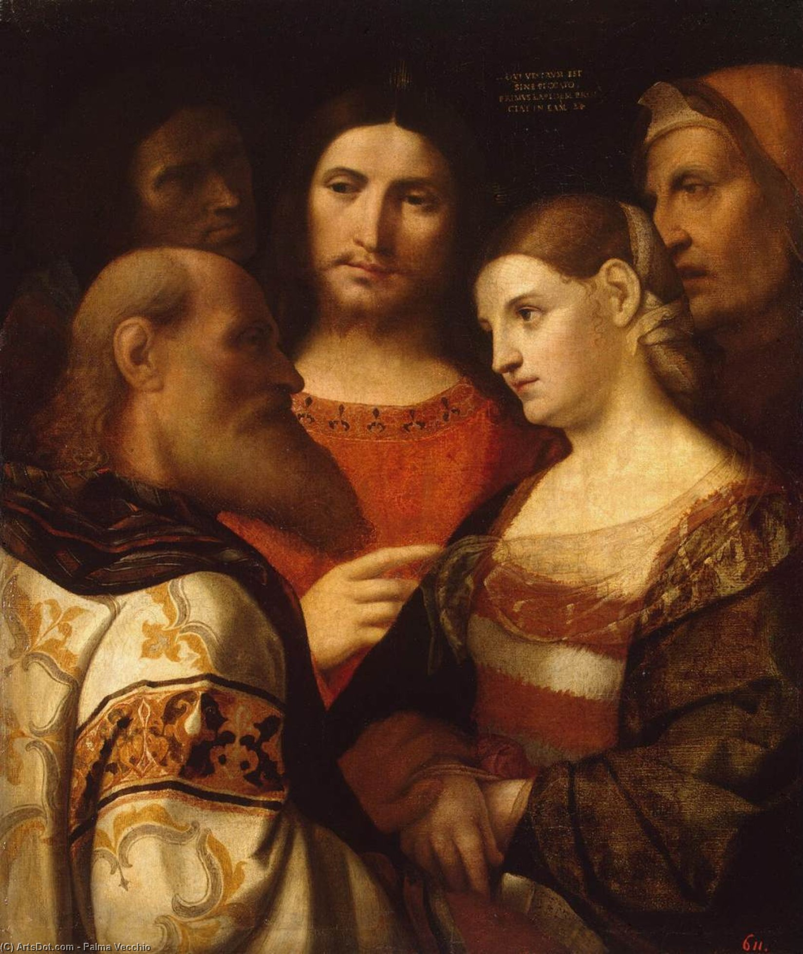 Wikioo.org - The Encyclopedia of Fine Arts - Painting, Artwork by Palma Vecchio - Christ and the Woman Taken in Adultery
