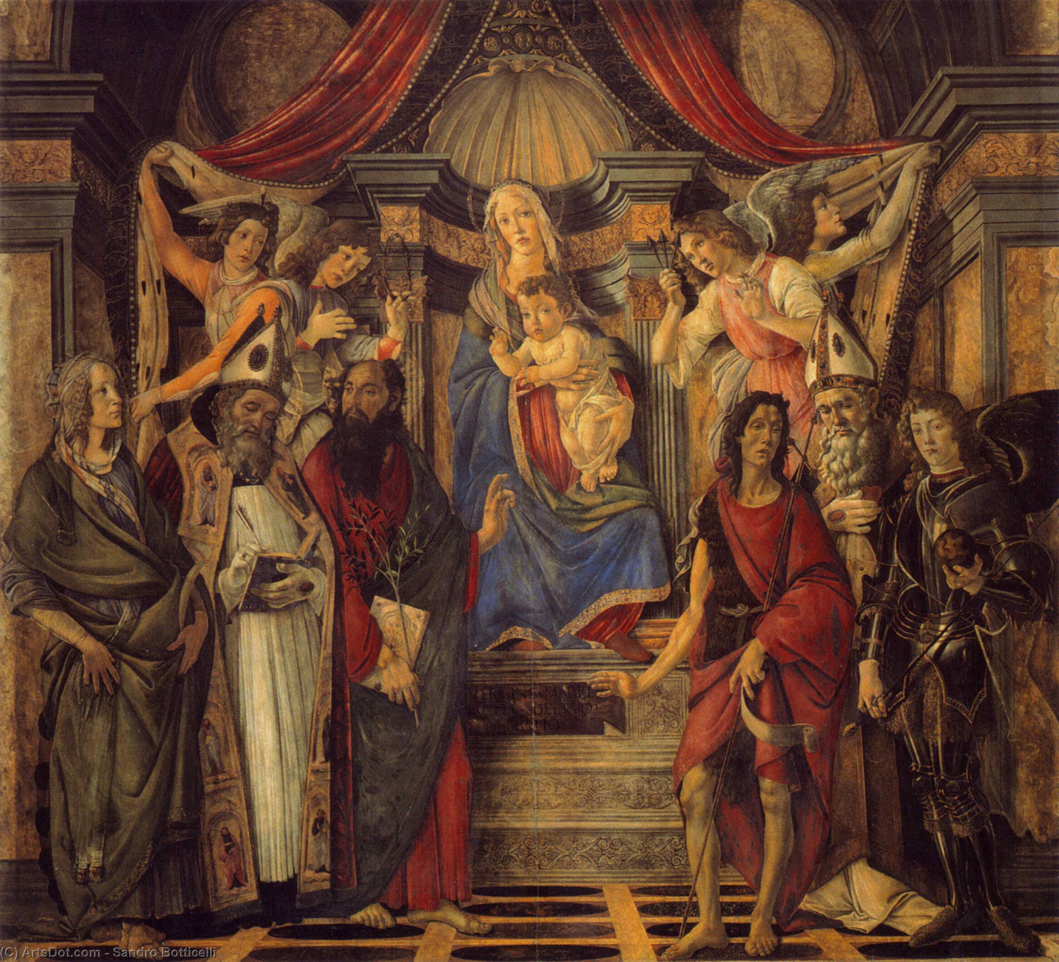 Wikioo.org - The Encyclopedia of Fine Arts - Painting, Artwork by Sandro Botticelli - The Virgin and Child with Four Angels and Six Saints (Pala di San Barnaba)