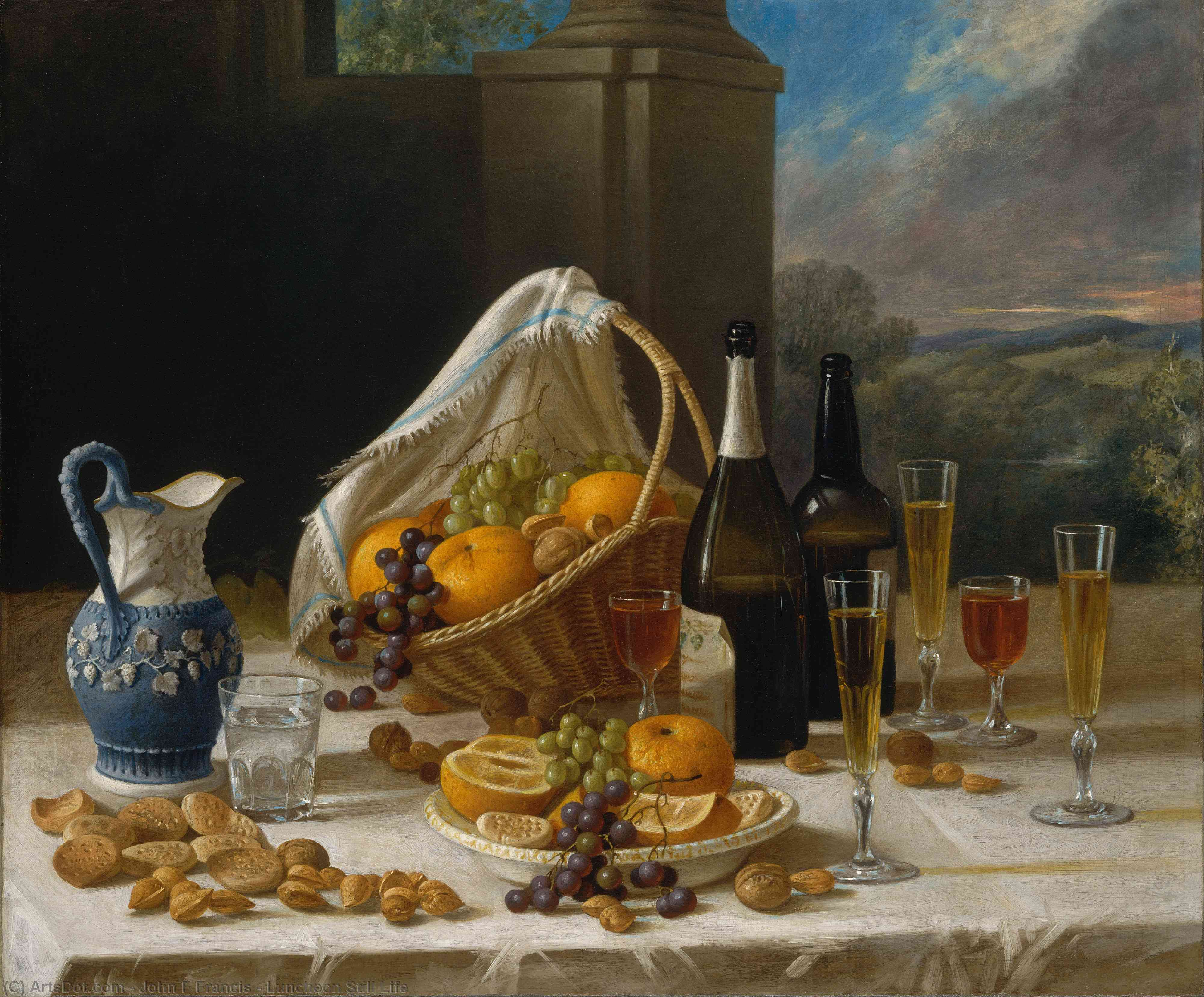 Wikioo.org - The Encyclopedia of Fine Arts - Painting, Artwork by John F Francis - Luncheon Still Life