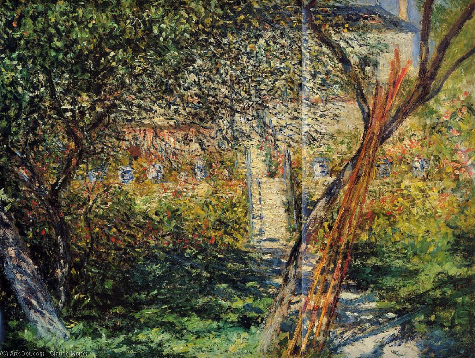 Wikioo.org - The Encyclopedia of Fine Arts - Painting, Artwork by Claude Monet - Monet's Garden at Vetheuil