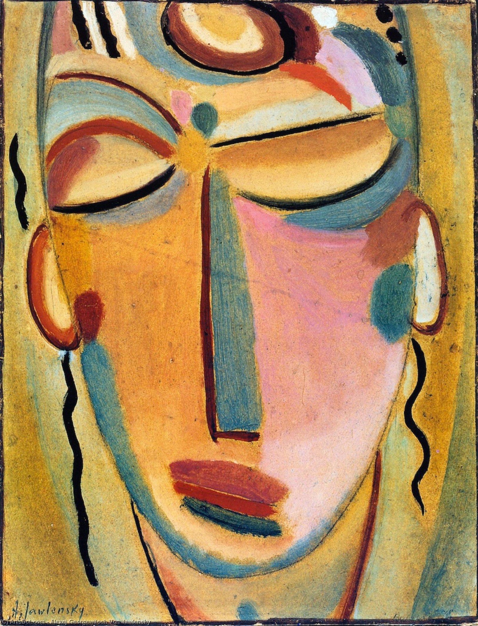 Wikoo.org - موسوعة الفنون الجميلة - اللوحة، العمل الفني Alexej Georgewitsch Von Jawlensky - Mystical Head: Meditation