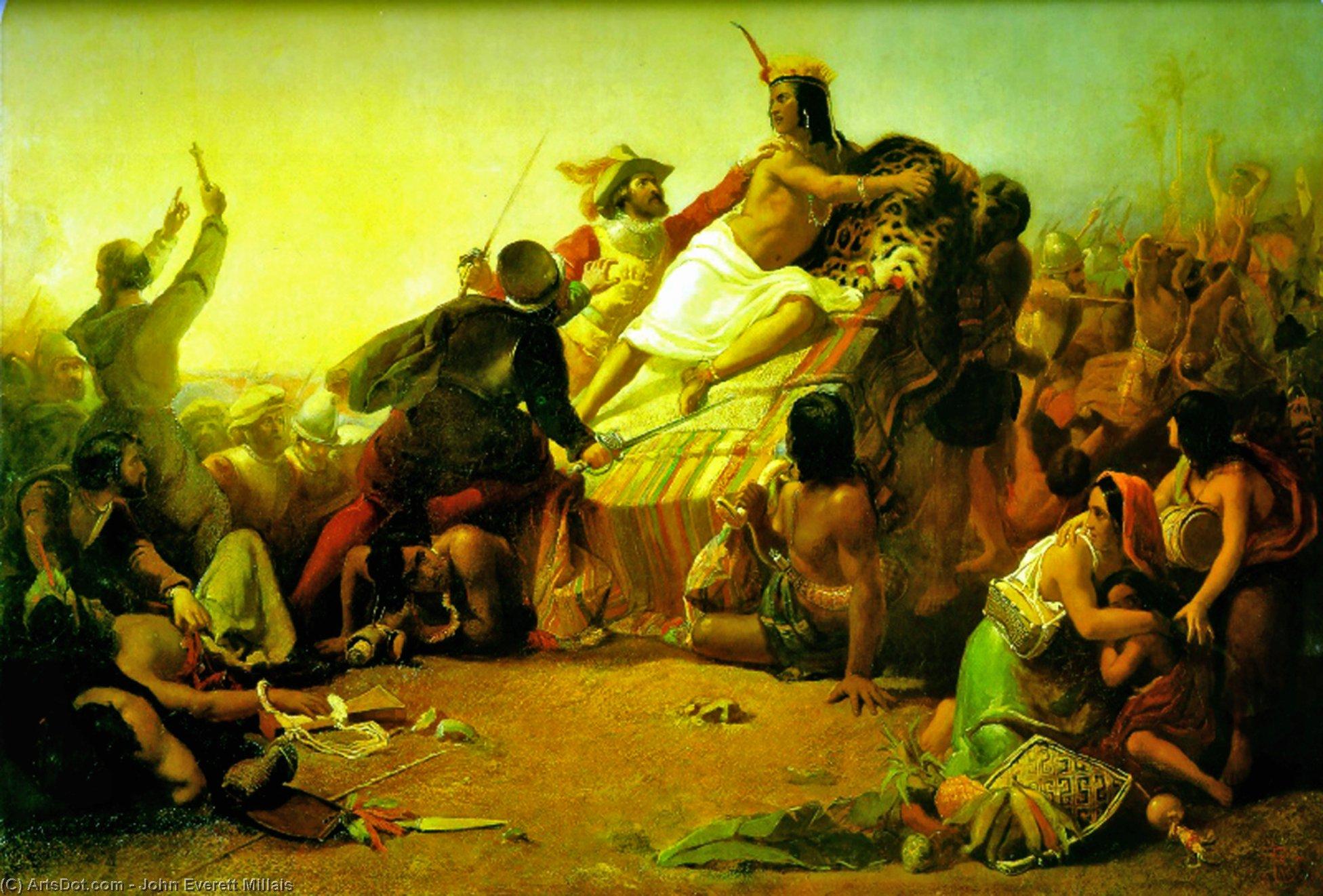 Wikioo.org - The Encyclopedia of Fine Arts - Painting, Artwork by John Everett Millais - Pizarro Seizing the Inca of Peru