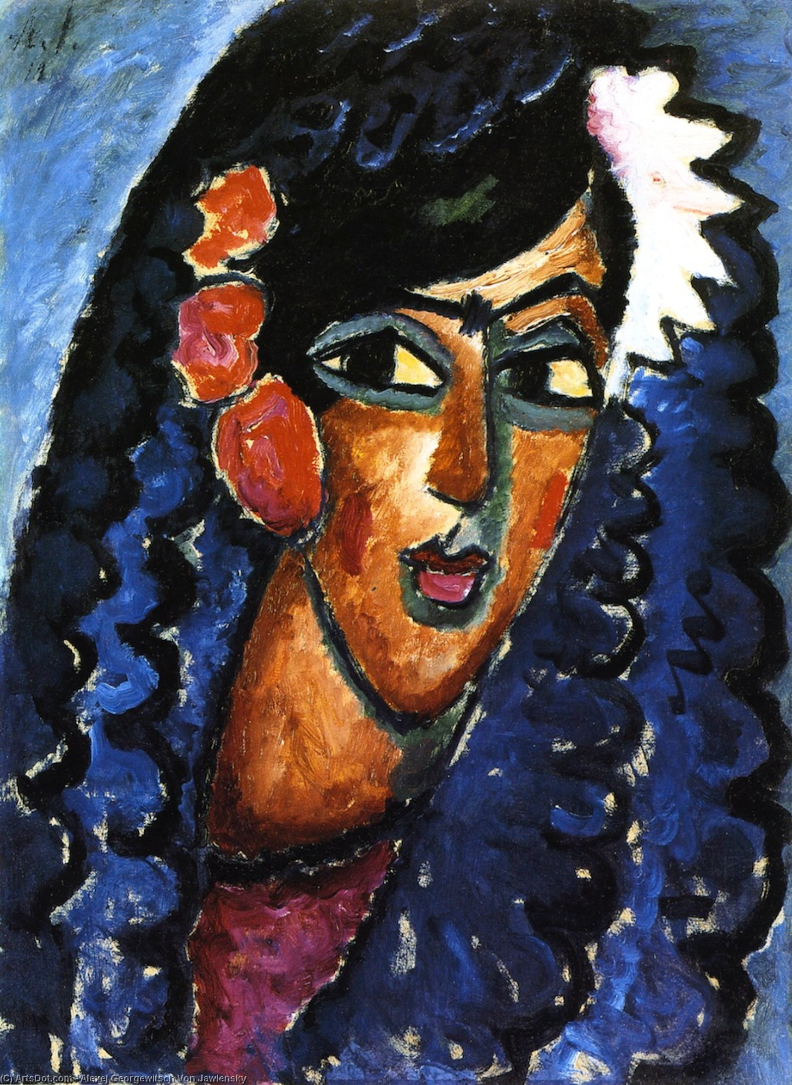 Wikioo.org - The Encyclopedia of Fine Arts - Painting, Artwork by Alexej Georgewitsch Von Jawlensky - Princess with White Flower