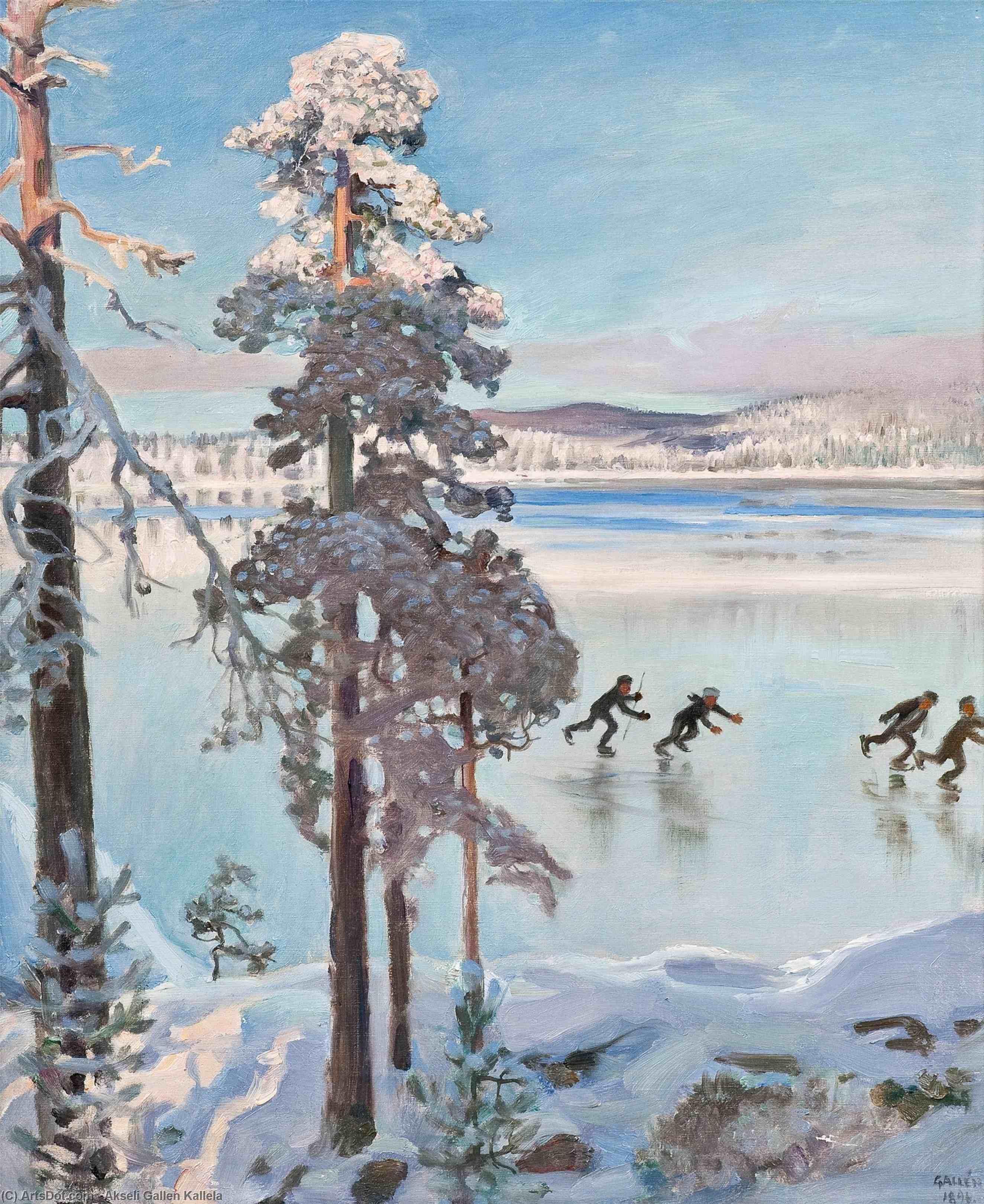 WikiOO.org - Encyclopedia of Fine Arts - Lukisan, Artwork Akseli Gallen Kallela - Skaters near the Shore of Kalela