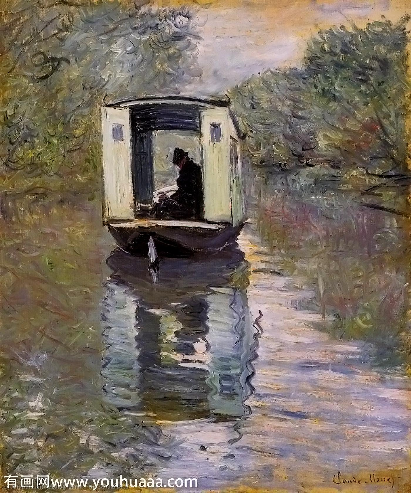 Wikioo.org - The Encyclopedia of Fine Arts - Painting, Artwork by Claude Monet - The Studio Boat