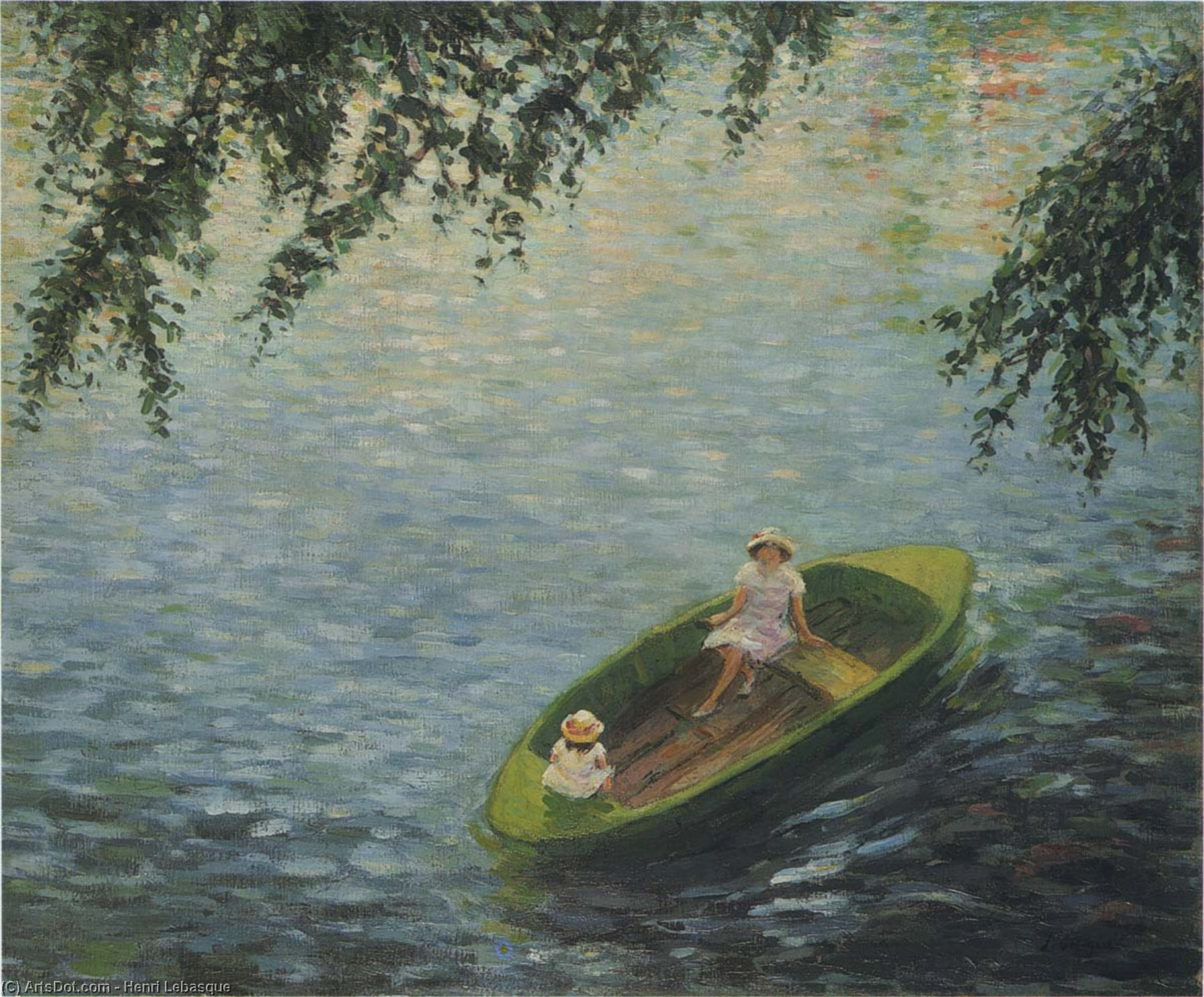 Wikioo.org - The Encyclopedia of Fine Arts - Painting, Artwork by Henri Lebasque - Young girls in a boat on the Marne