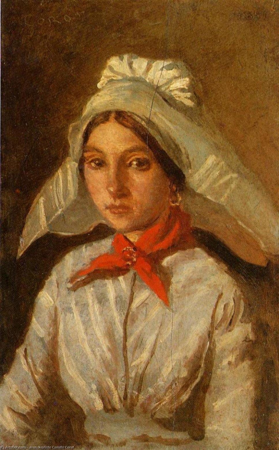 WikiOO.org - Энциклопедия изобразительного искусства - Живопись, Картины  Jean Baptiste Camille Corot - молодая девушка с большой Крышка на ней Голова