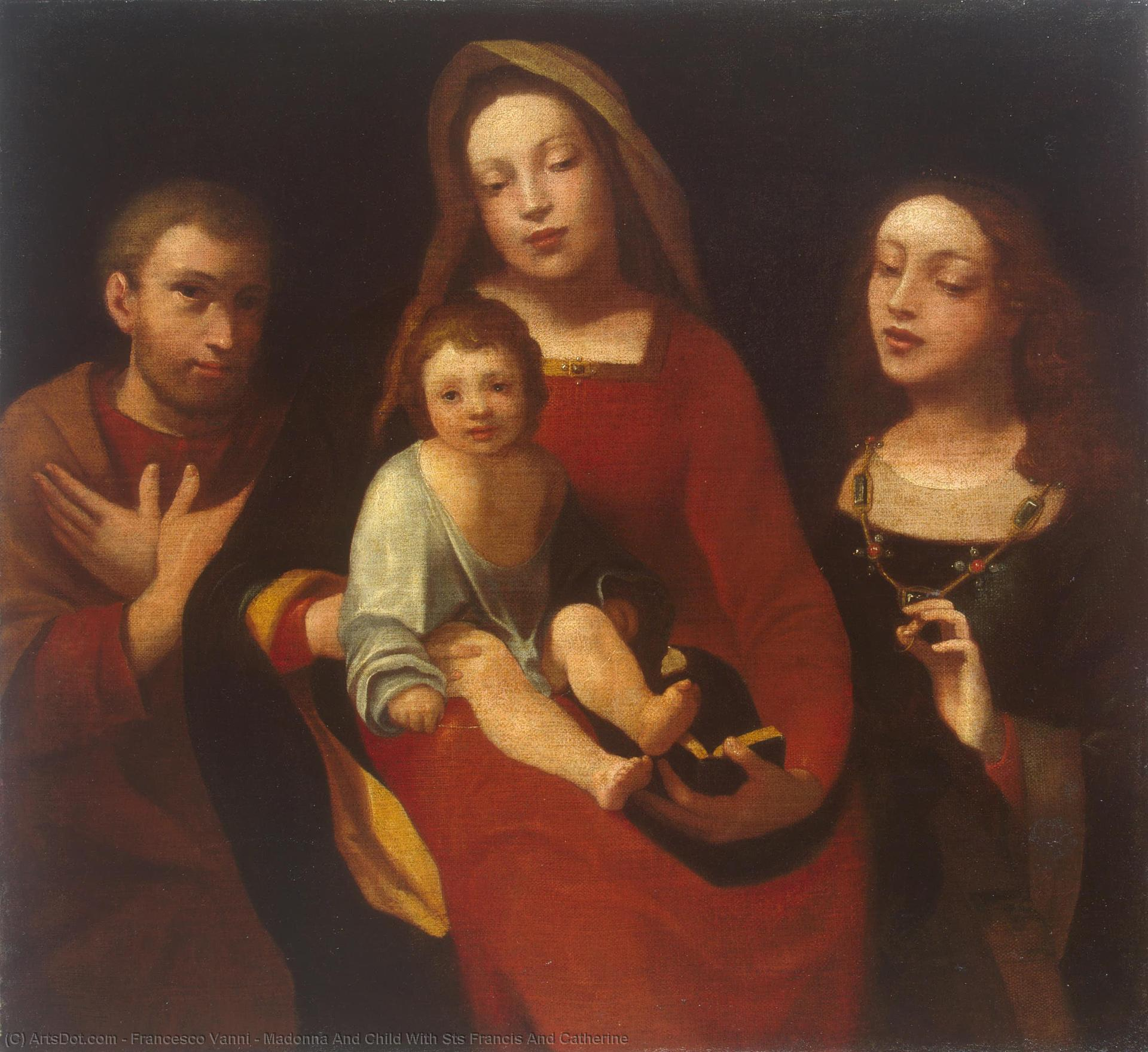 Wikioo.org - The Encyclopedia of Fine Arts - Painting, Artwork by Francesco Vanni - Madonna And Child With Sts Francis And Catherine