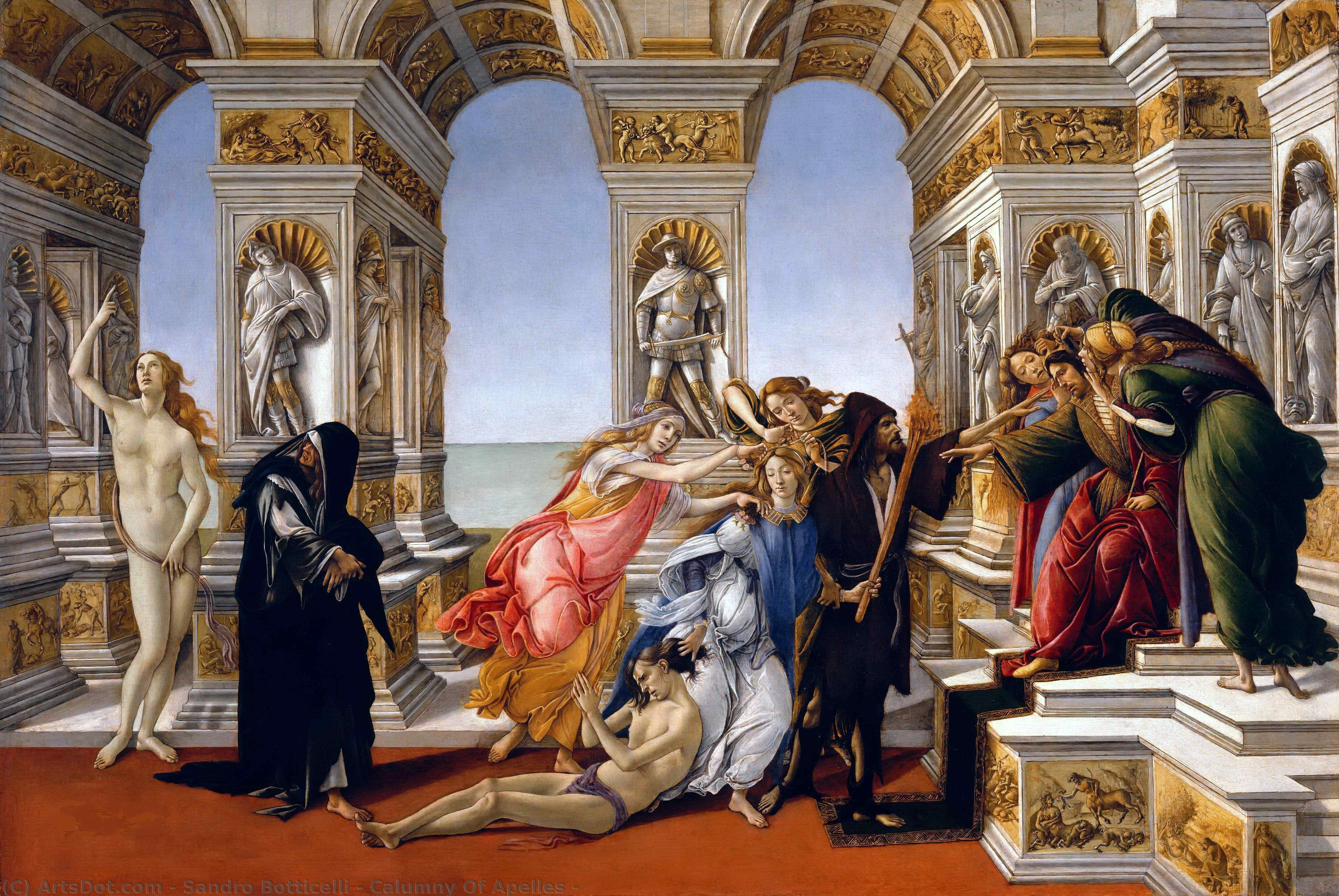 Wikioo.org - The Encyclopedia of Fine Arts - Painting, Artwork by Sandro Botticelli - Calumny Of Apelles -