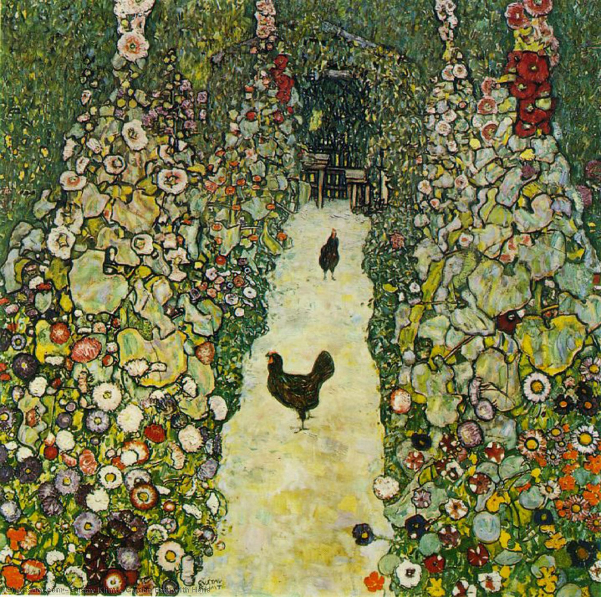 Wikioo.org - The Encyclopedia of Fine Arts - Painting, Artwork by Gustav Klimt - Garden Path with Hens