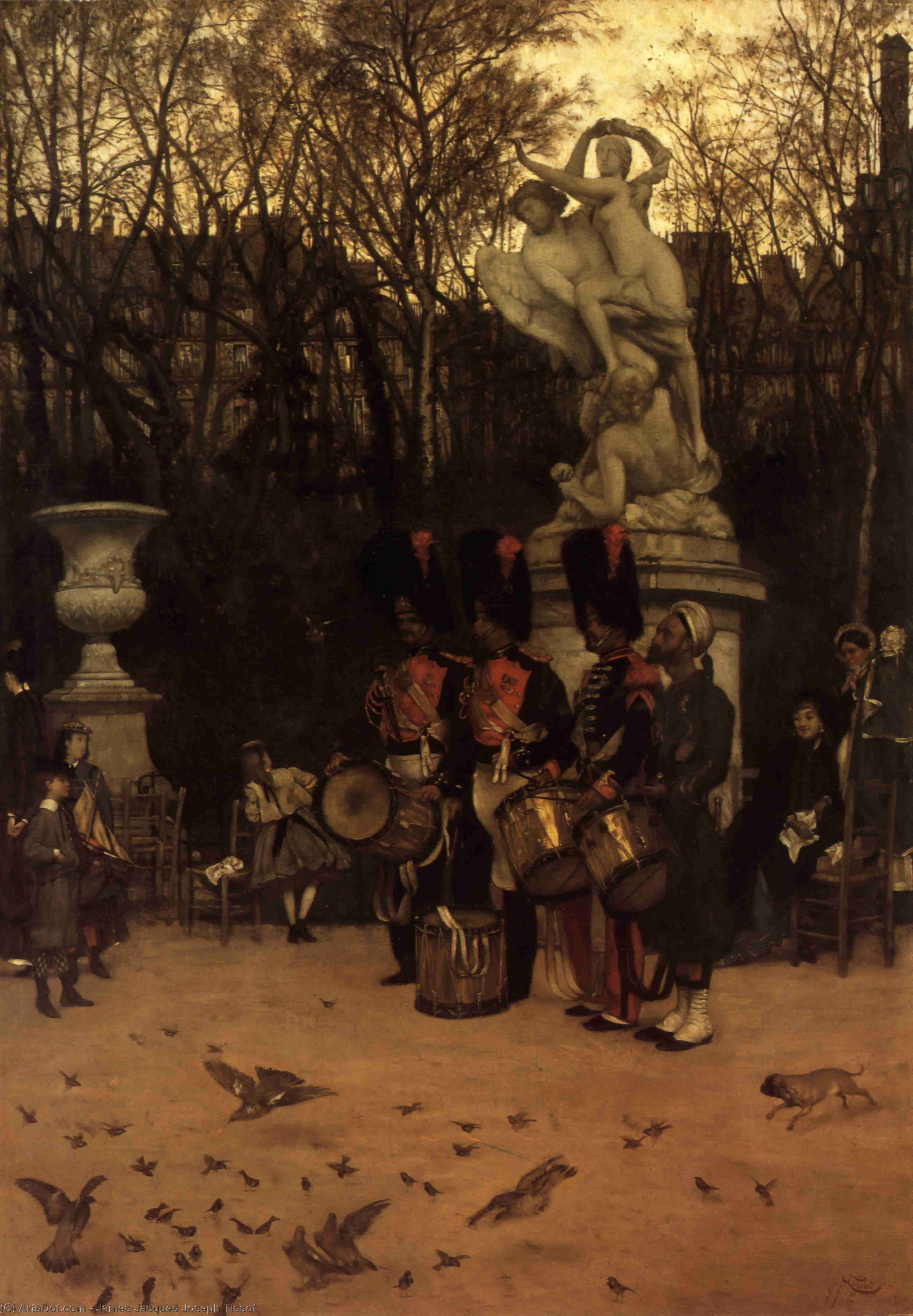 Wikioo.org - The Encyclopedia of Fine Arts - Painting, Artwork by James Jacques Joseph Tissot - Beating the Retreat in the Tuileries Gardens