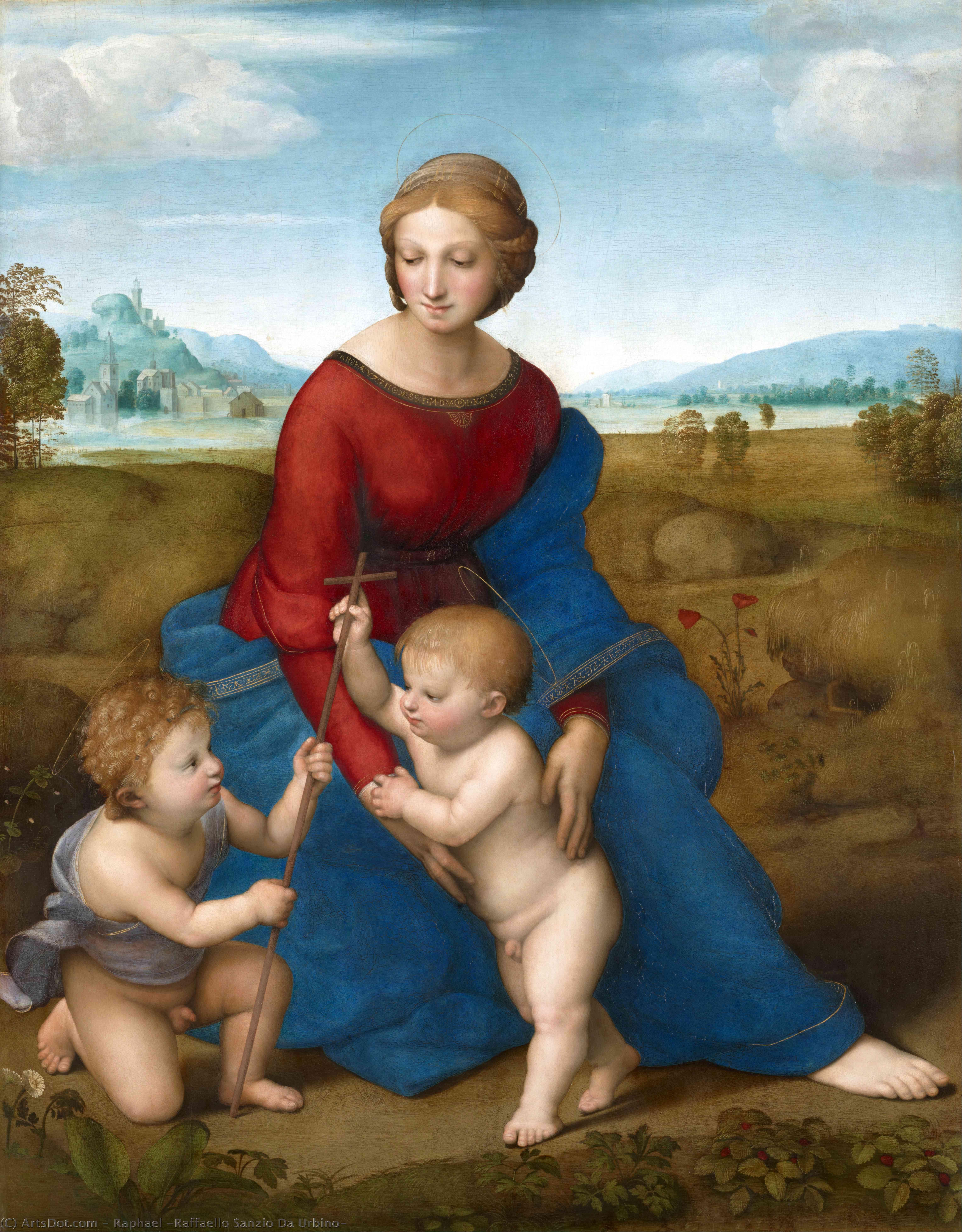 Wikioo.org - The Encyclopedia of Fine Arts - Painting, Artwork by Raphael (Raffaello Sanzio Da Urbino) - Madonna of Belvedere (Madonna del Prato)
