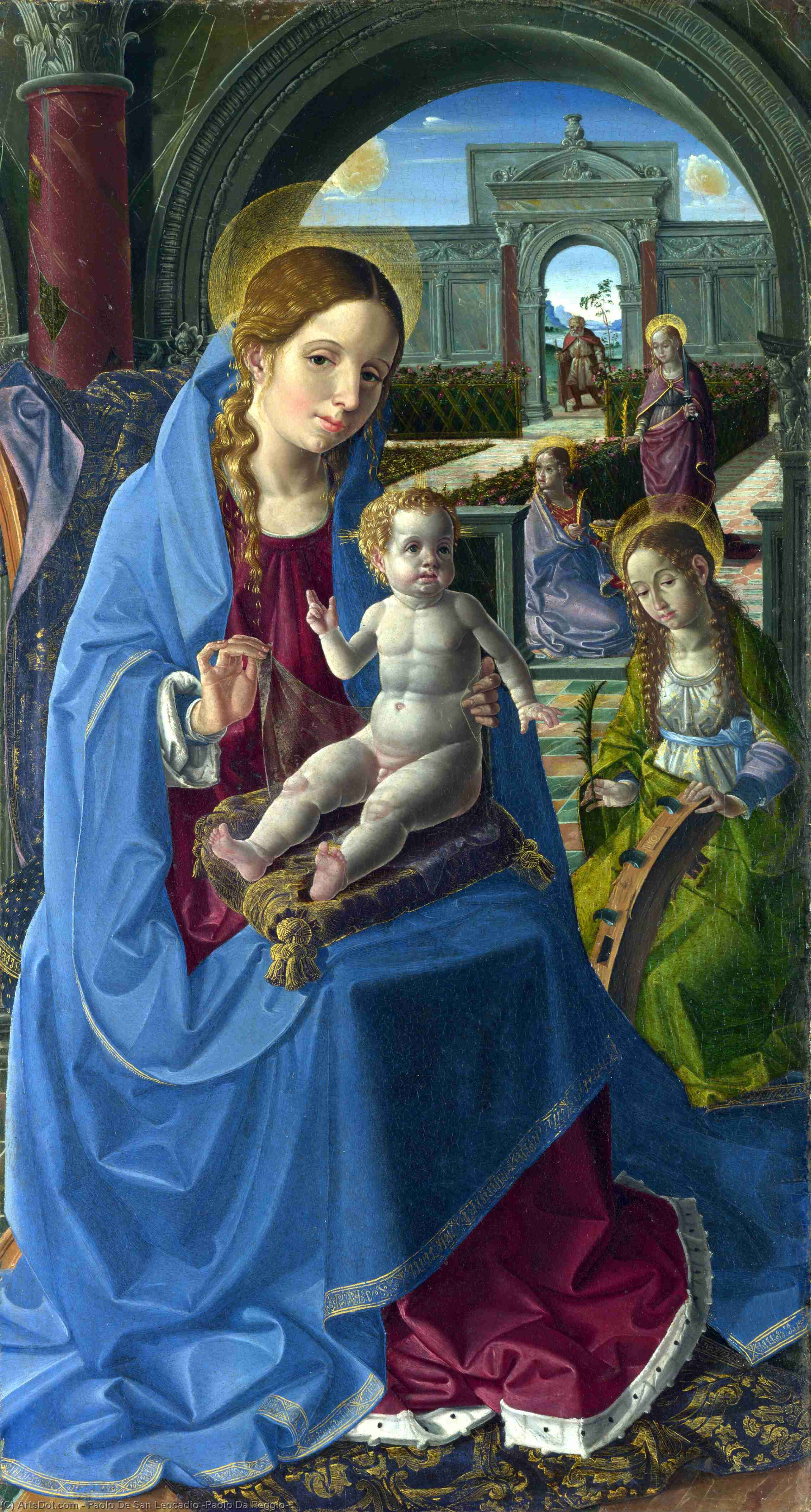 Wikioo.org - The Encyclopedia of Fine Arts - Painting, Artwork by Paolo De San Leocadio (Paolo Da Reggio) - The Virgin and Child with Saints