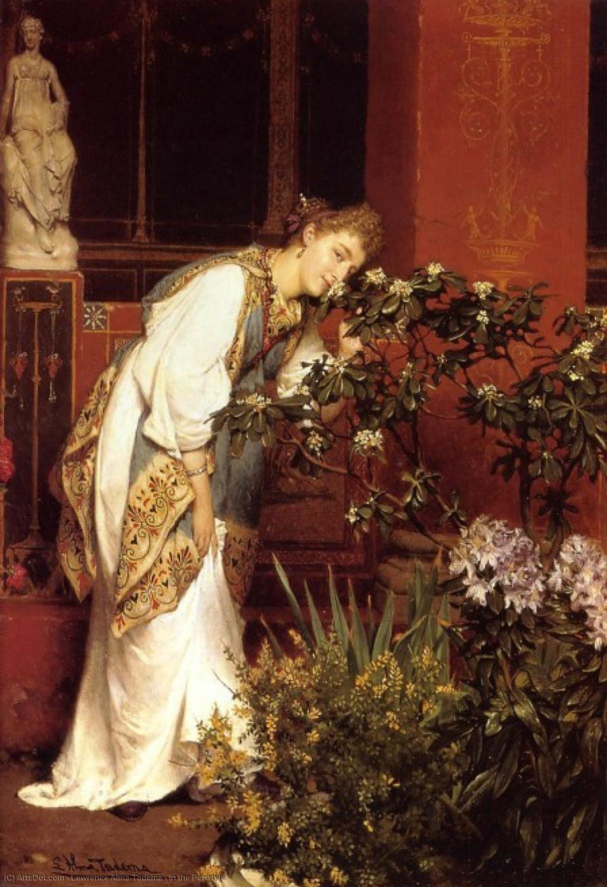 Wikioo.org - The Encyclopedia of Fine Arts - Painting, Artwork by Lawrence Alma-Tadema - In the Peristyle