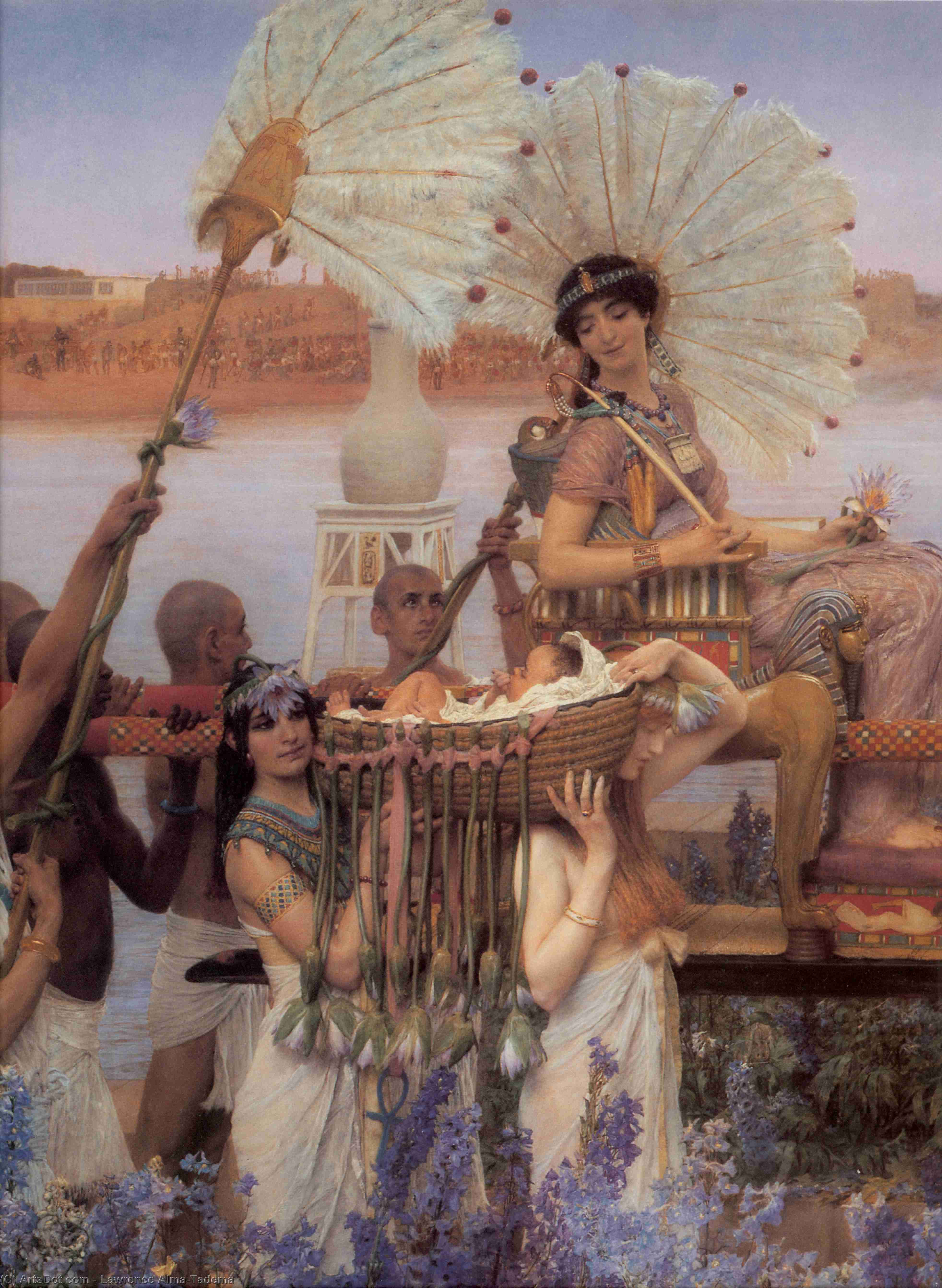 Wikioo.org - The Encyclopedia of Fine Arts - Painting, Artwork by Lawrence Alma-Tadema - The Finding of Moses detail