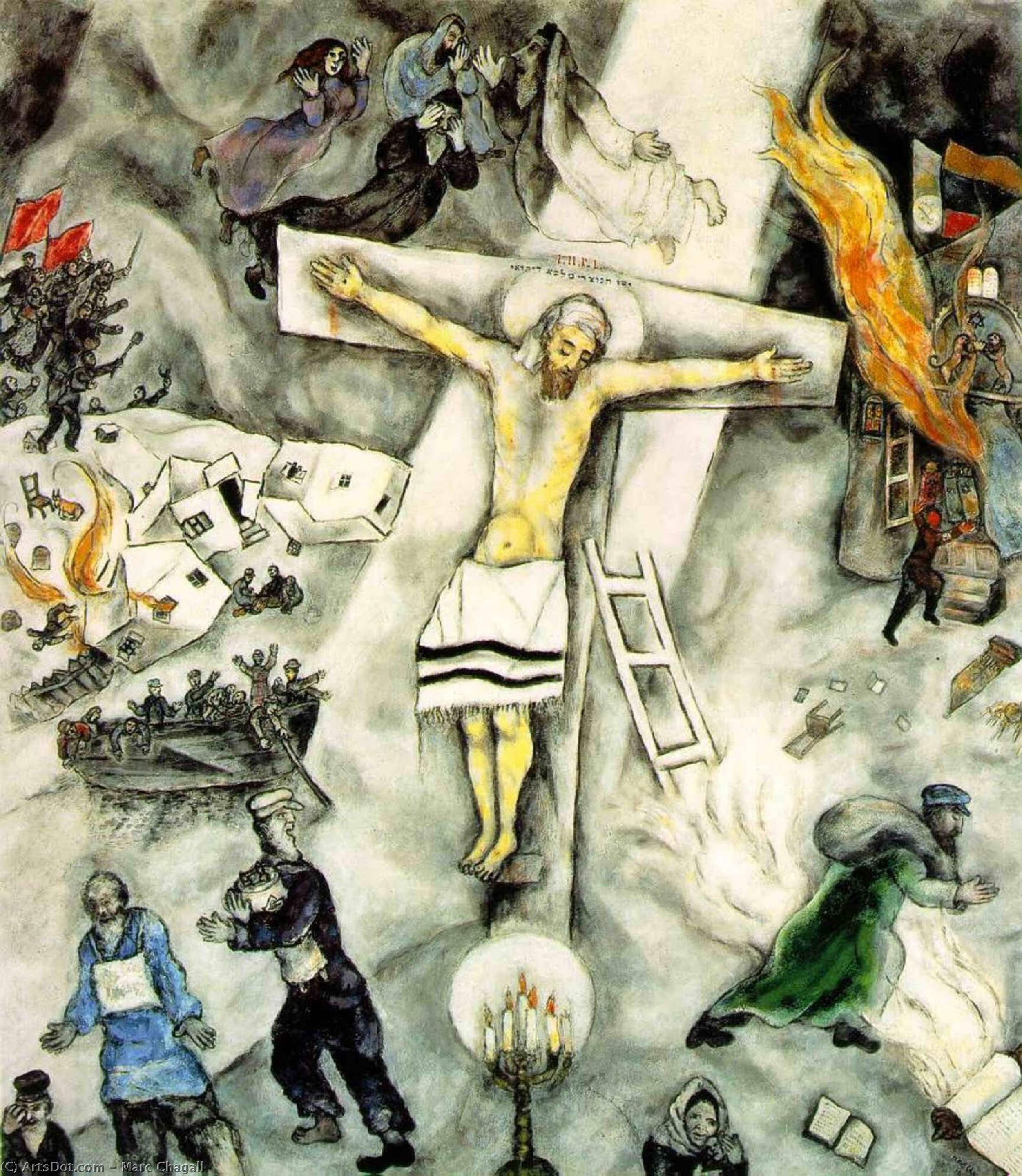 Wikioo.org - The Encyclopedia of Fine Arts - Painting, Artwork by Marc Chagall - White crucifixion, The Art Institute of Chicag