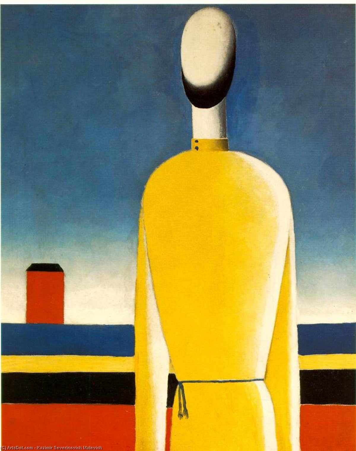 Wikioo.org - The Encyclopedia of Fine Arts - Painting, Artwork by Kazimir Severinovich Malevich - Complex Presentiment - Half-Figure in a Yellow Shir