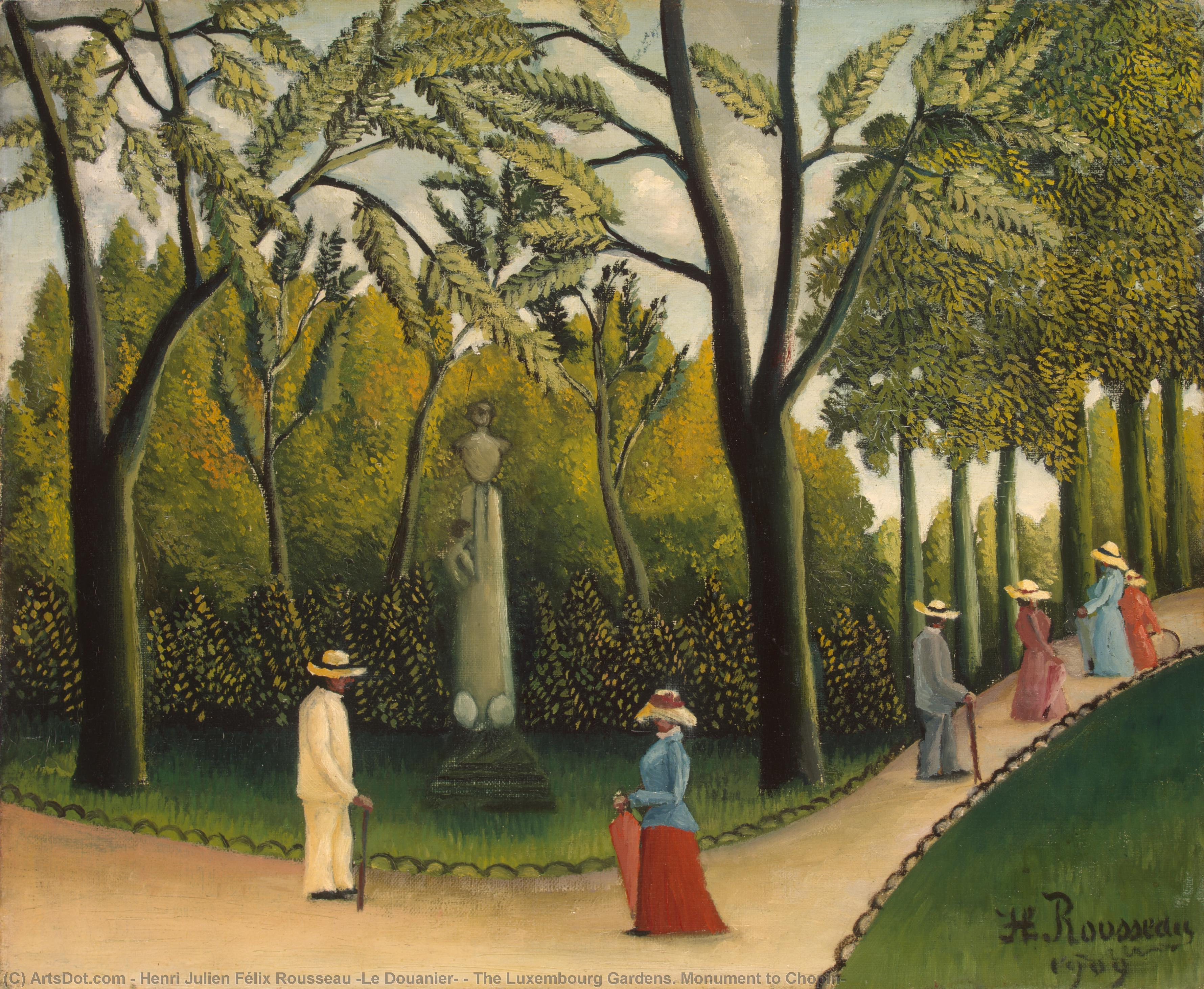 Wikioo.org - The Encyclopedia of Fine Arts - Painting, Artwork by Henri Julien Félix Rousseau (Le Douanier) - The Luxembourg Gardens. Monument to Chopin,