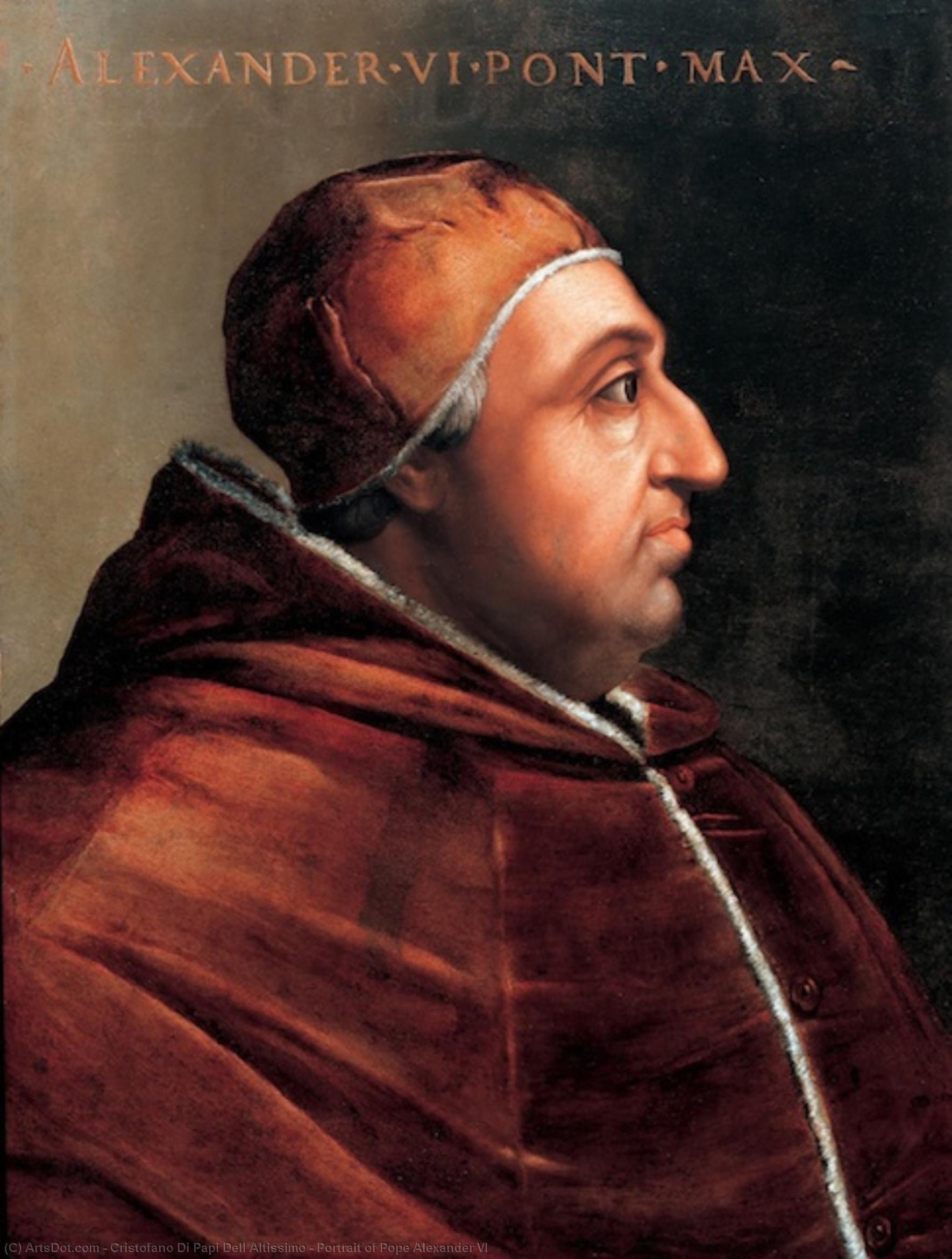 Wikioo.org – La Enciclopedia de las Bellas Artes - Pintura, Obras de arte de Cristofano Di Papi Dell Altissimo - Botas retrato del papa Alejandro VI
