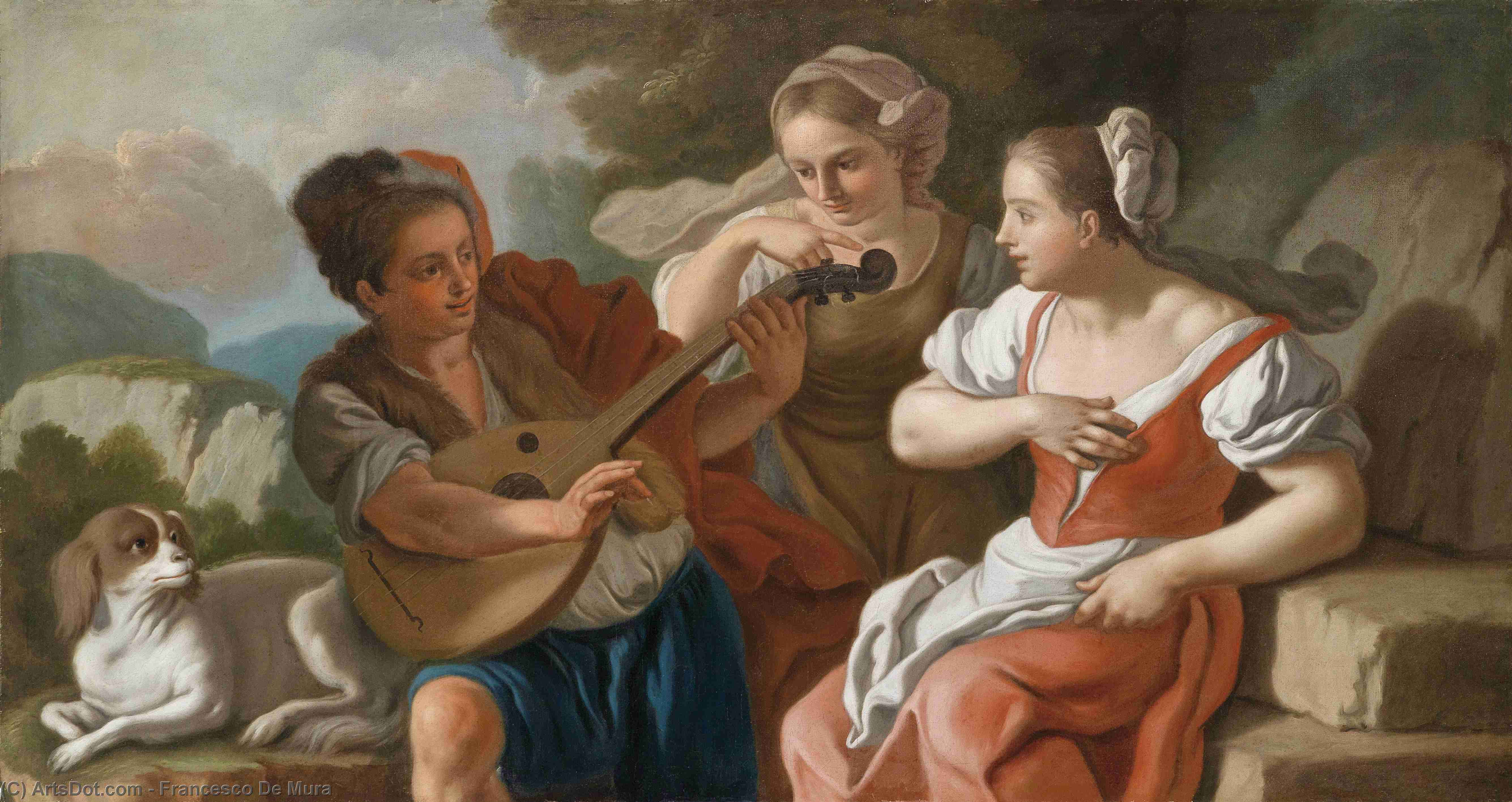 Wikioo.org - The Encyclopedia of Fine Arts - Painting, Artwork by Francesco De Mura - The lutenist