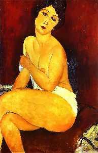 Seated Nude on Divan