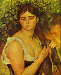 Girl Braiding Her Hair (Suzanne Valadon)