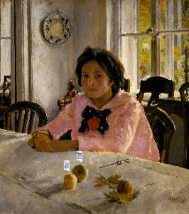 Girl with Peaches. Portrait of Vera Mamontova - Valentin Alexandrovich Serov