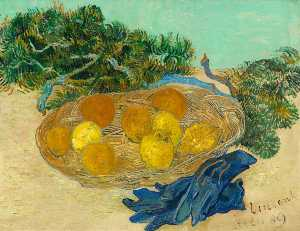 Still Life with Oranges, Lemons and Blue Gloves
