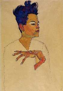 Self Portrait with Hands on Chest