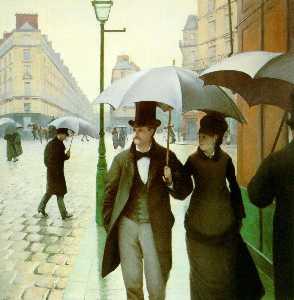 Pariser straße , regnerischer tag