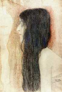 Girl with Long Hair, with a sketch for 'Nude Veritas'