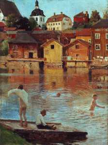 Boys Swimming in the Porvoo River
