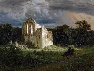 Ruine dans un paysage au clair de lune