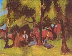 Children under Trees in Sun