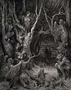 el infierno , Canto 13 , líneas 11 . aquí las arpías bruta hacen su nido
