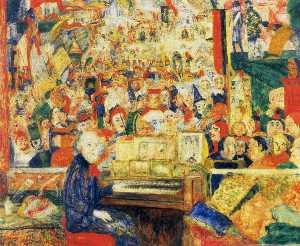 1933 Ensor dans son atelier ou Ensor a l' harmonium