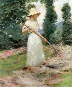 Girl Raking Hay